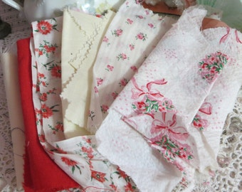Vintage Fabric-Feedsack-Feed sack Fabric Scraps-Pinks