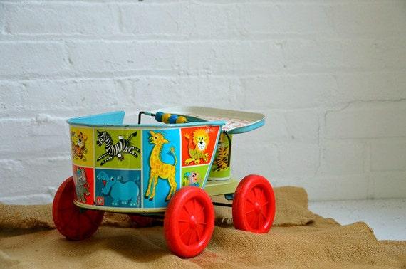 Large Vintage Tin Toy Children's Doll Wagon Toy Carriage Circus Animal Design