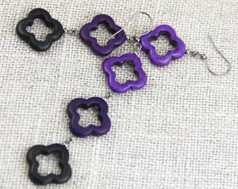 Purple Ombre Earrings - Purple Violet Black Clover Quatrefoil Stone Purple Ombre Long Beaded Dangle Drop Gunmetal Earring - Big Mod Earring