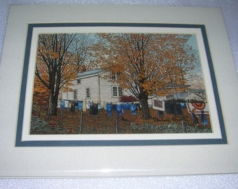 Vintage Thelma Winter Triple Matted Print Wash Day, Leon, NY, C 1989