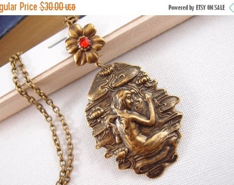 Art nouveau mermaid and water lily necklace, aged brass,vintage,mythology,fairy tale,