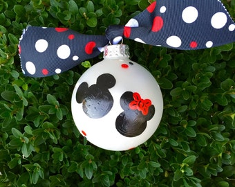 Disney Ornament - Personalized Disney Bauble, Minnie Mouse and Mickey Mouse - Hand Painted Glass Ball, Personalized Christmas Disney