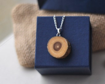 mulberry wood necklace • tree branch wood jewelry •  wooden pendant