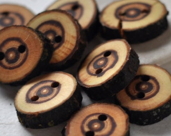 tree branch buttons • set of 9 red plum wooden buttons • wood button