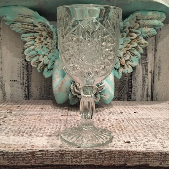 French Farmhouse Glass Goblet.romantic shabby cottage chic home decor. Wedding Crystal. Wedding Table Decor.