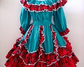 Vintage Aqua and Red Square Dance Skirt and Blouse Set - Circle Skirt and Peasant Blouse - Mexican Style Patio Dress Skirt - Size Large