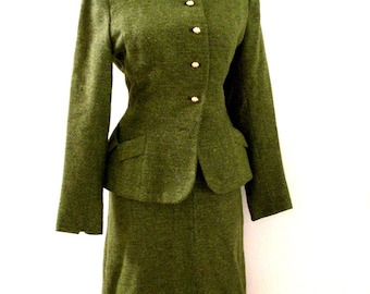 Vintage 40s 50s Green Wool Suit - 1950s Green Suit with Metal Zipper by Courtiselle - Rockabilly Dress Suit - Size Medium estimated