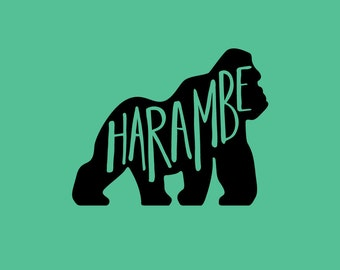 Vinyl Decal, HARAMBE DECAL, RIP Harambe, MacBook decal, Hand Lettered Decal, Computer Decal, Phone Decal,  Tablet Decal, Gorilla Decal