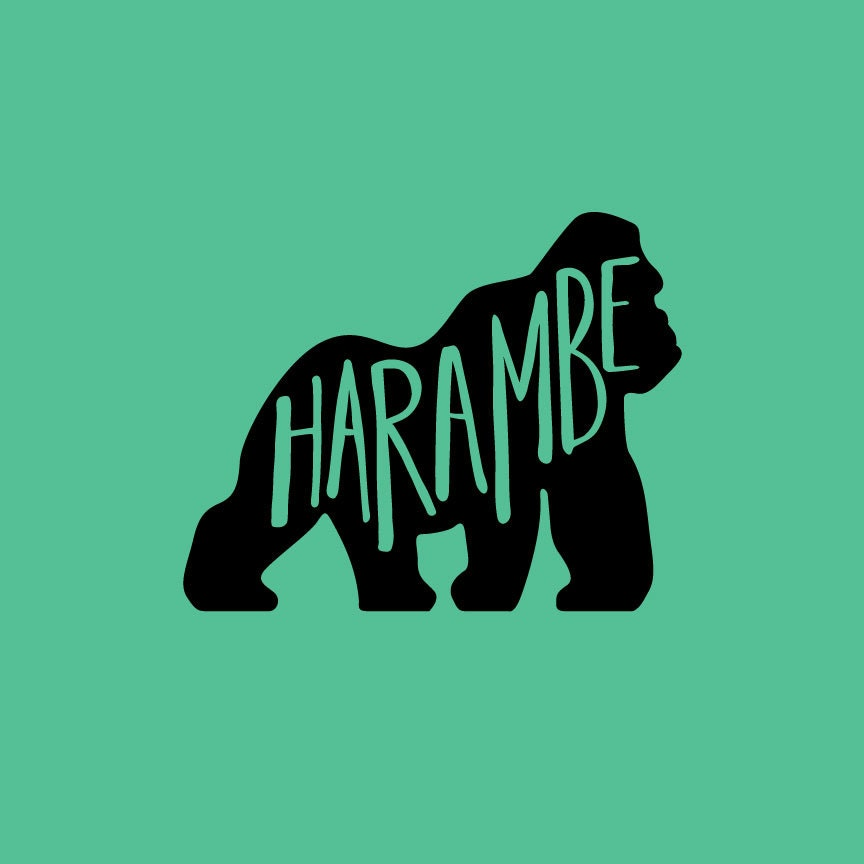 Harambe Vinyl Decal Rip Harambe Hand Lettered Decal