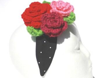 Dia de los Muertos, Floral Headband, Crocheted, Roses
