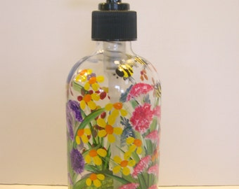 Hand Painted Glass Liquid Soap Lotion Dispenser Bottle Hand Pump Wild Flowers Dragonfly Bumblebees Blue Purple Yellow Orange Red