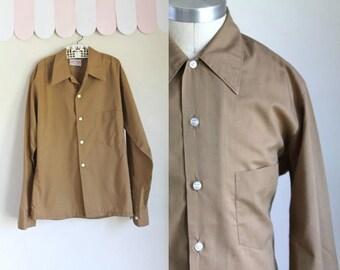 vintage 1960s boy's shirt - KHAKI beige button down / 10/12yr