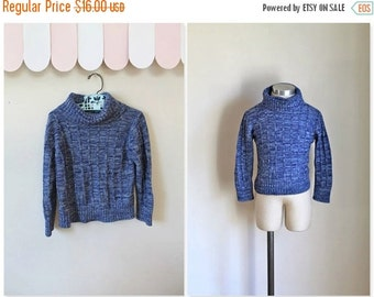 40% OFF back2school SALE vintage child's sweater - SPACE Blue space dye turtlenecks / 5T-6yr
