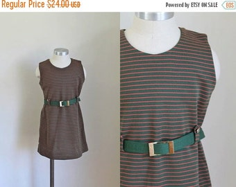 40% OFF back2school SALE vintage 1960s little girl's dress - PINE Garland striped knit beleted dress / 7-8yr