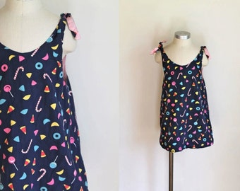 vintage girl's novelty print dress - TRICK or TREAT candy print reversible top / dress / 6/7x