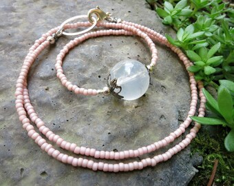 Rose Quartz Sphere Necklace, dainty everyday beaded light pink, silver, and white crystal sphere jewelry with seed beads