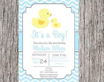 Duck Baby Shower Invitation, duck baby boy baby shower, ducks, ducky shower, custom and printable