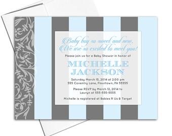 Custom baby shower invitations | blue and gray boy shower invite modern stripes | printable or printed - WLP00703