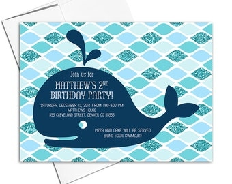 Pool party birthday invitation   Boys 2nd birthday party navy and teal   kids birthday invites   printable or printed - WLP00305