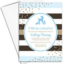Woodland Baby shower invitation for a baby boy | printable invitations | printed invitations | baby shower invites for boys - WLP00757