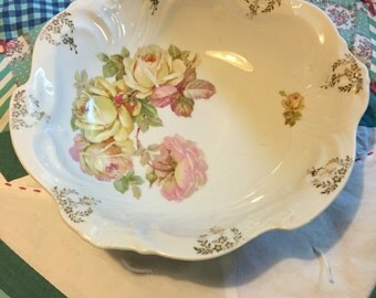 Vintage Yellow and Pink Roses Victorian Bavarian Serving Bowl  Made In Germany #3930