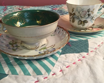 Vintage 4 Piece Mis Matched Floral Roses Tea Cup Sets #3574