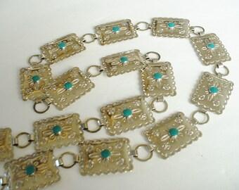 """Vintage Mini Concho Belt Stamped Metal Faux Turquoise 32"""" Adjustable Link Belt Southwestern Design 1940 Classic Original"""