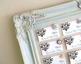 SEATING CHART Seating Cards Magnetic Board Blue Wedding Decor Vintage Wedding Decor Linen Fabric Board Linen Pinboard Cork Board Corkboard