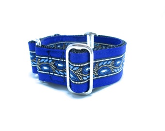 """Houndstown 1.5"""" Blue Feather Martingale or Buckle Collar Size Small through X-Large"""