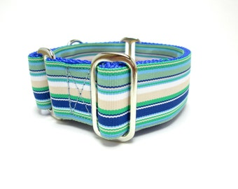 "Houndstown 1.5"" Ocean Stripe Collar, Martingale or Buckle, Any Size"