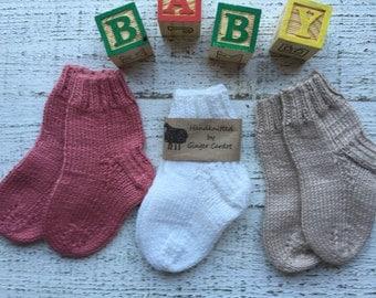 3 Pairs ~Hand Knitted Baby/Toddler Socks // Knitted Baby Socks // Hand Knitted Baby Clothing // Hand Knitted Socks //Baby Socks