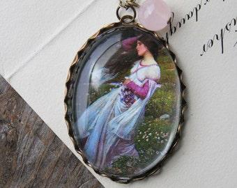 Windflowers Necklace. John William Waterhouse. (magnifying pendant art book illustration jewelry antique romantic jewellery wind flowers)