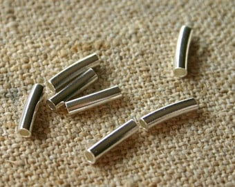 100pcs 5x1mm Metal Beads Silver Plated Curved Tube