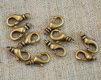10pcs Clasp 14x8mm Lobster Claw Antiqued Gold Plated Brass With Swivel
