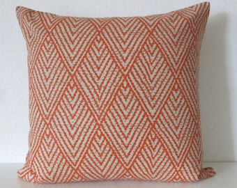 Tahitian stitch tangerine orange geometric decorative pillow cover