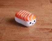 Needle Felted Salmon Sushi - Needlefelt Sake Nigiri - Felted Japanese Food Plush - Mini Kawaii Plush Phone Charm