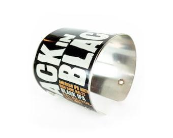 back in black, cali, california, brewcuff, cuff bracelet, upcycled jewelry, brewbracelets, aluminum can jewelry