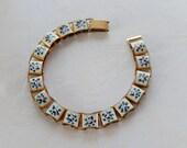 """Enamel Bracelet, Vintage Bracelet, Flowered Bracelet, Link Bracelet, Gift for Her, 8"""" Bracelet"""