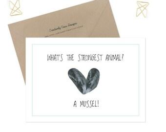 Mussel Joke Card, Workout card, joke card, funny card, joke stationary, DIGITAL DOWNLOAD