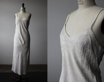 Vintage SILK Bias Cut Ivory Damask Gown Slip Ankle Length Dress Floral Tonal Woven Silk 90s Minimalist M