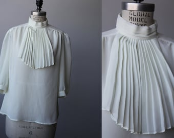 Vintage White Semi-Sheer Blouse with Pleated Ascot Tie High Neck 80s M