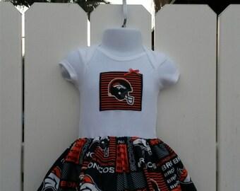 Size 9 Months Denver Broncos NFL Onesie Dress  READY to Ship