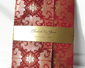Indian Wedding Invitation, Indian Wedding Invite, Indian Red and Gold Invitation, Art Deco Invitation, Bohemian Wedding Invite SARAHIE - 41