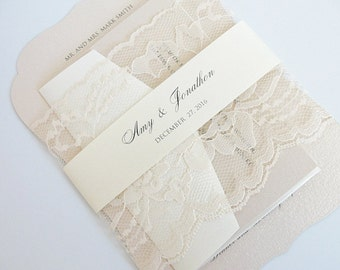 Wedding Invitation, Blush Wedding Invite, Lace Wedding Invite, Elegant Wedding Invitation, Scallop Wedding Invite SCALLOPS BLUSH
