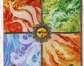 """Four Elements Glass and Wood 9"""" Square Wall Hanging - Earth, Air, Fire, Water, Sun Home Decor - 4 Elements Glass 3D Mixed Media Wall Block"""