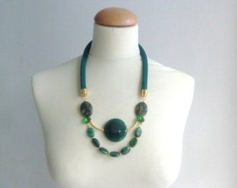 Green gem rhinestones statement necklace gems jewelry rope necklace