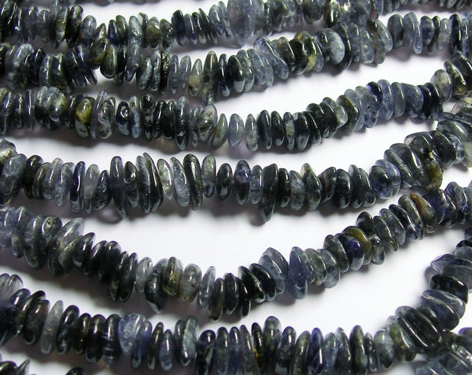 Iolite gemstone  - 10mm pebble - nugget disc  bead -  ship - full strand - PSC213