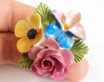 1960s Cara China Brooch... Bright 3-d Flowers... Rose Iris Pink Blue Yellow Green