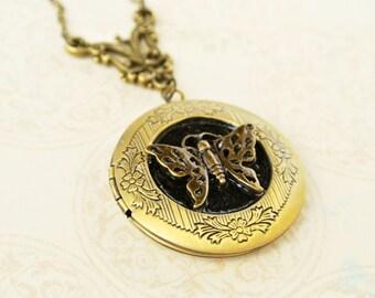 Butterfly Locket Necklace,Butterfly Locket, Photo Locket, Locket Jewelry, Image Locket