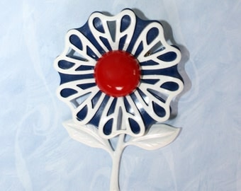 1960s Red White Blue Floral Brooch . Vintage 60s Large Mod Enamel Flower Brooch Pin